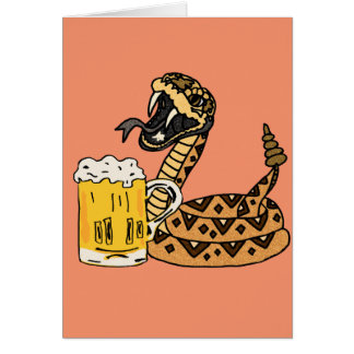 Funny Rattlesnake Drinking Beer Card