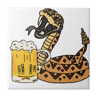 Funny Rattlesnake Drinking Beer Tile