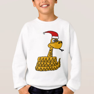 Funny Rattlesnake in Santa Hat Christmas Art Sweatshirt