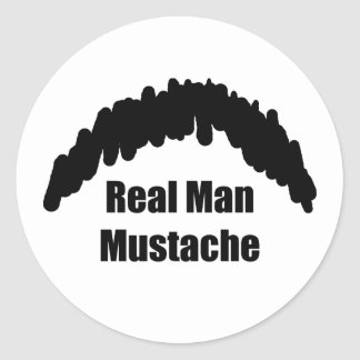 Funny Real Men Cookie Duster Mustache Round Sticker