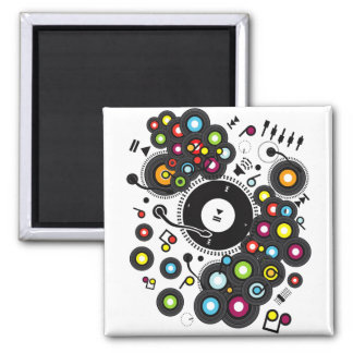 Funny_Record Square Magnet