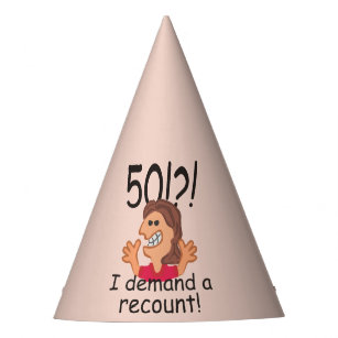 Funny Recount 50th Birthday Party Hat