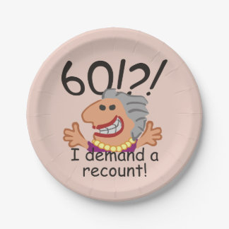 Funny Recount 60th Birthday 7 Inch Paper Plate