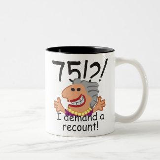 Funny Recount 75th Birthday Two-Tone Coffee Mug