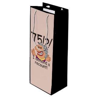 Funny Recount 75th Birthday Wine Gift Bag