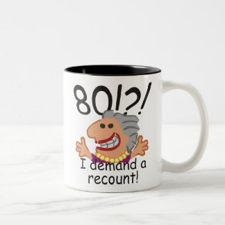 Funny Recount 80th Birthday Two-Tone Coffee Mug