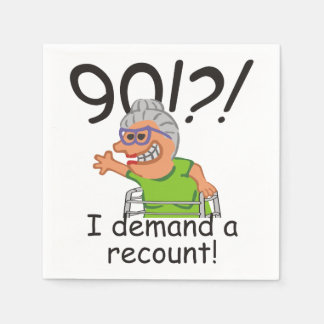 Funny Recount 90th Birthday Paper Napkin