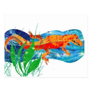 Funny Red Alligator Postcard