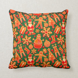 Funny Red and Green Christmas Gingerbread Pillow