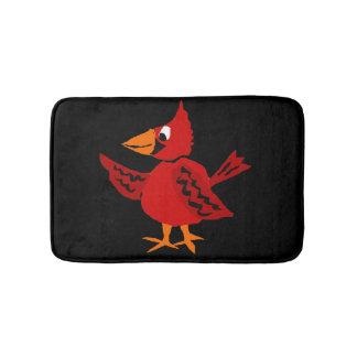 Funny Red Cardinal Bird Artwork Bath Mat
