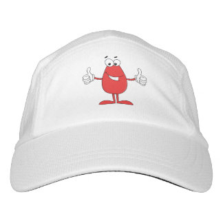 Funny red cartoon with two thumbs up hat