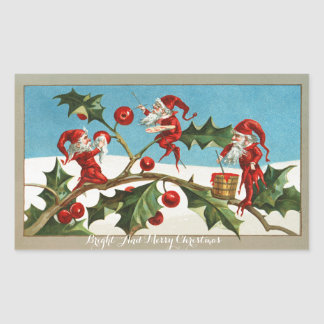 FUNNY RED CHRISTMAS ELVES PAINTING HOLLYBERRIES
