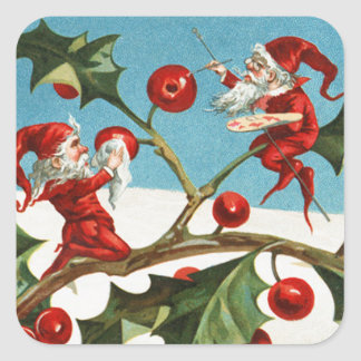 FUNNY RED CHRISTMAS ELVES PAINTING HOLLYBERRIES SQUARE STICKER
