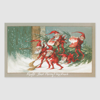 FUNNY RED CHRISTMAS ELVES SWEEPING IN THE SNOW
