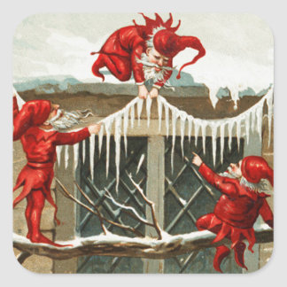 FUNNY RED ELVES AND CHRISTMAS DECOR WITH ICICLES SQUARE STICKER