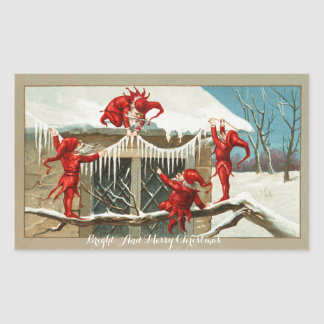 FUNNY RED ELVES AND CHRISTMAS DECOR WITH ICICLES STICKER