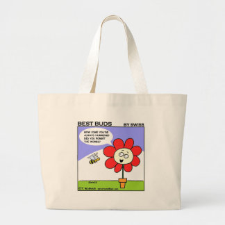 Funny Red Flower and Musical Humming Bee Large Tote Bag