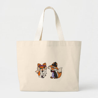 Funny Red Fox Bride and Groom Wedding Art Jumbo Tote Bag