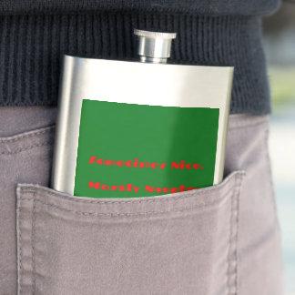 Funny Red Green Christmas Naughty Nice Design Hip Flask