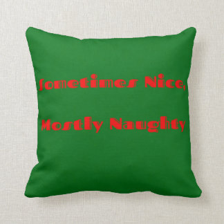 Funny Red Green Christmas Naughty Nice Design Throw Pillow