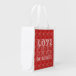 Funny red grey hearts pattern and white typography reusable grocery bag