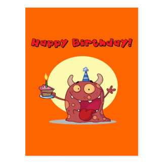 Funny Red Happy Birthday Monster With Cake Post Card