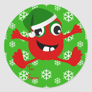 Funny Red Monster Gift Tag Stickers