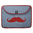 Funny Red Moustache And Blue White Stripes Sleeve For MacBook Pro