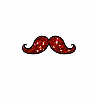 FUNNY RED MUSTACHE PRINTED GLITTER PHOTO SCULPTURE BUTTON