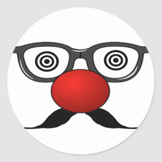 Funny Red Nose weird  eyes glasses moustache Classic Round Sticker