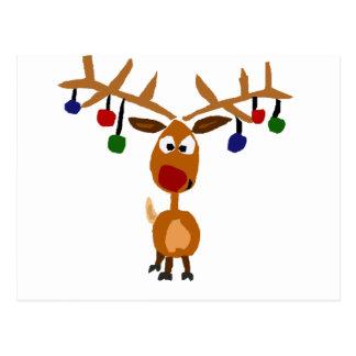 Funny Red Nosed reindeer Christmas Art Postcard