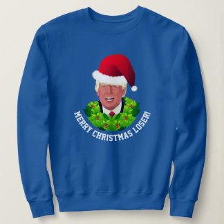 Funny Red Santa Hat Trump Ugly Christmas Sweatshirt