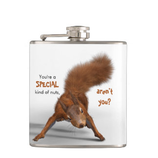 Funny Red Squirrel Photo | Special Kind of Nuts Flask