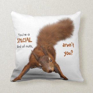 Funny Red Squirrel Photo | Special Kind of Nuts Throw Pillow