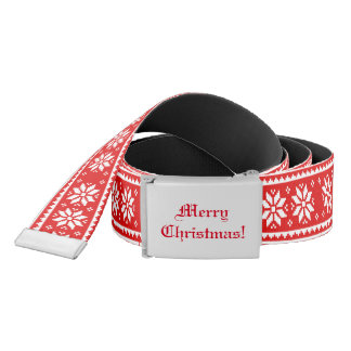 Funny red Ugly Christmas Sweater pattern accessory Belt
