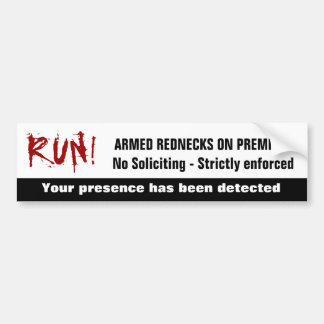 Funny Redneck No Soliciting Sign Bumper Sticker