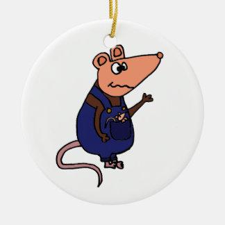 Funny Redneck Possum in Overalls Round Ceramic Ornament