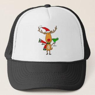 Funny Reindeer Drinking Margarita Christmas Art Trucker Hat