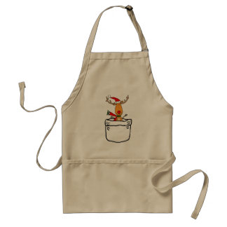 Funny Reindeer in a Pocket Christmas Cartoon Standard Apron