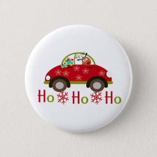 Funny Reindeer in car Christmas HO HO HO 2 Inch Round Button