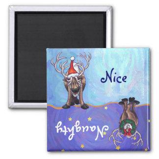 Funny Reindeer Naughty Nice Holiday Magnet