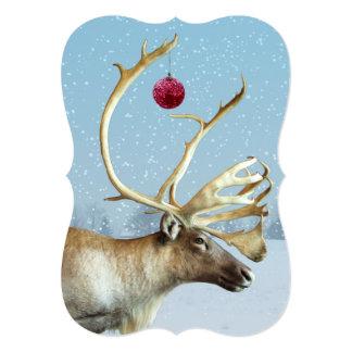 Funny Reindeer Ornament Christmas card