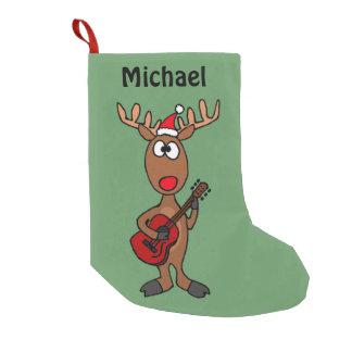 Funny Reindeer Playing Guitar Small Christmas Stocking