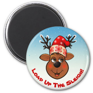 Funny Reindeer With Christmas Hat 2 Inch Round Magnet