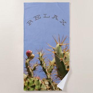 Funny Relax on Tropical Cactus Photo Custom Text Beach Towel