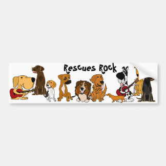 Funny Rescues Rock Dogs Bumper Sticker