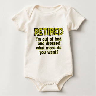 Funny retired designs baby bodysuit