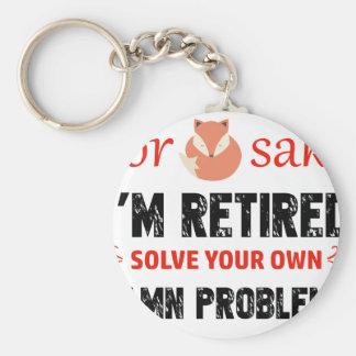 Funny Retired designs Basic Round Button Keychain