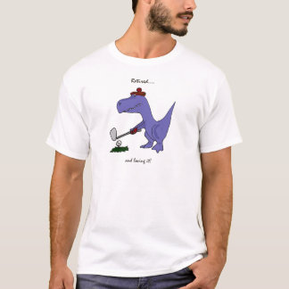 Funny Retired T-Rex Dinosaur Golfing T-Shirt