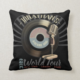 Funny Retro 45 Karaoke King Record Throw Pillow